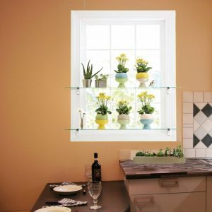 Tempered Glass Shelves Ideas: DIY Shelf For Kitchen Window