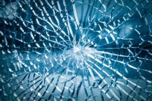 broken toughened glass