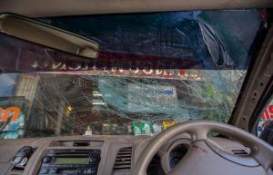 broken car tempered glass