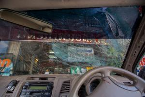 broken car tempered glass